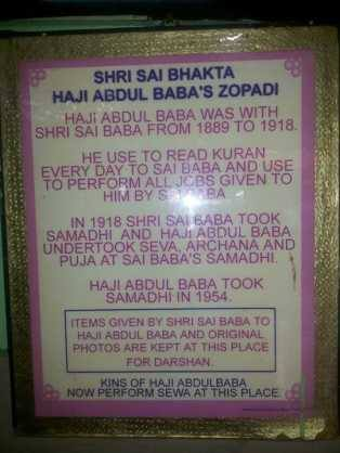 This signboard at shirdi proved that Sai baba used to listen quran everyday